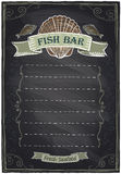 Chalkboard hand drawn seafood menu. Chalkboard seafood menu card. Eps10 Stock Photo