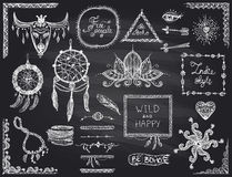 Chalkboard hand drawn sketch elements set in boho style, hippie, indie style, dream catcher, necklace and bracelets, frames Royalty Free Stock Photography