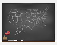 Chalkboard with hand drawn USA Stock Photo