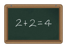 Chalkboard: 2+2=4. 2+2=4 handwritten with white chalk on a chalkboard Stock Photography