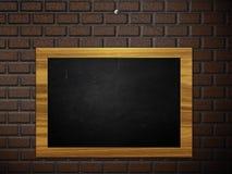 Chalkboard hang on brick wall Stock Photos