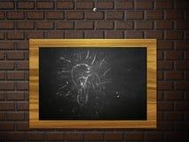 Chalkboard hang on brick wall Royalty Free Stock Photo