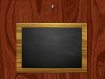 Chalkboard hang on wooden wall Stock Image