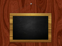 Chalkboard hang on wooden wall Royalty Free Stock Photo