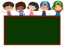 Chalkboard with happy children in background Stock Images