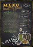 Chalkboard healthy food menu. Chalkboard healthy food menu background with place for text. Eps10 Stock Photos