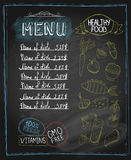 Chalkboard healthy food menu Royalty Free Stock Photography