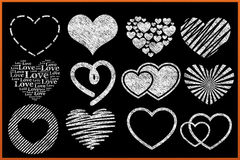 Chalkboard Heart Collection Stock Photos