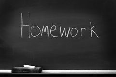 Chalkboard with Homework Sign Royalty Free Stock Images