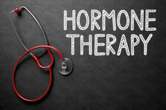 Chalkboard with Hormone Therapy Concept. 3D Illustration. Medical Concept: Hormone Therapy - Text on Black Chalkboard with Red Stethoscope. Black Chalkboard Royalty Free Stock Photo