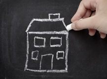 Chalkboard house home Royalty Free Stock Photo