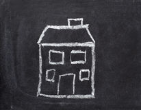 Chalkboard house home real estate Royalty Free Stock Images
