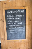 Chalkboard ice cream menu. The Chalkboard ice cream menu Royalty Free Stock Image
