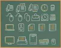 chalkboard ikony biurowy nakreślenie Obrazy Royalty Free