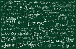 Blackboard inscribed with scientific formulas and calculations in physics and mathematics. Can illustrate scientific. Chalkboard inscribed with scientific stock illustration
