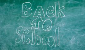 Chalkboard with inscription back to school. Advertisement back to school chalkboard background. Back to school it is. Never late to study Stock Illustration