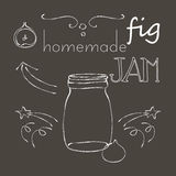 Chalkboard with jar of fig jam. Naive cartoon style jar with fig jam, on chalkboard. Illustration and cute lettering. Unique vector sketch with elegant design Royalty Free Stock Photography