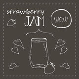 Chalkboard with jar of strawberry jam Royalty Free Stock Photos
