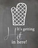 Chalkboard kitchen Humor Poster Oven Mitt Stock Images