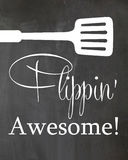 Chalkboard kitchen Humor Poster Spatula flipping Awesome Stock Image