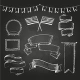 Chalkboard labels. Independence day Stock Images