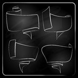 Chalkboard labels, ribbons and stickers Royalty Free Stock Photos
