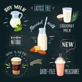 Chalkboard lactose-free beverages ADs set: soy milk, coconut milk, almond milk, soy latte, dairy-free milkshake. Stock Photo