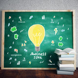 Chalkboard with lamp Stock Photo