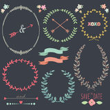 Chalkboard Laurel Wreath Wedding design elements Royalty Free Stock Photography
