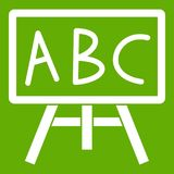 Chalkboard with the leters ABC icon green. Chalkboard with the leters ABC icon white isolated on green background. Vector illustration Stock Photography