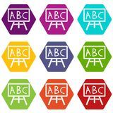 Chalkboard with the leters ABC icon set color hexahedron. Chalkboard with the leters ABC icon set many color hexahedron isolated on white vector illustration Royalty Free Stock Photo