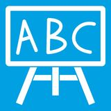 Chalkboard with the leters ABC icon white. Isolated on blue background vector illustration Royalty Free Stock Photo