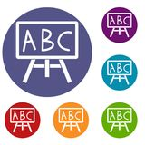 Chalkboard with the leters ABC icons set. In flat circle reb, blue and green color for web stock illustration