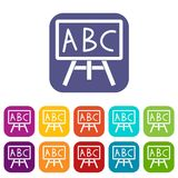 Chalkboard with the leters ABC icons set. Vector illustration in flat style In colors red, blue, green and other Stock Photos