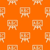 Chalkboard with the leters ABC pattern seamless. Chalkboard with the leters ABC pattern repeat seamless in orange color for any design. Vector geometric Royalty Free Stock Photos