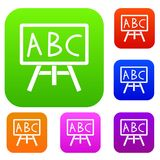 Chalkboard with the leters ABC set collection. Chalkboard with the leters ABC set icon in different colors isolated vector illustration. Premium collection Royalty Free Stock Photo