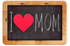 Chalkboard with lettering I love you mom. On white background royalty free stock photo