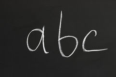 Chalkboard with letters Royalty Free Stock Photo
