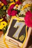 chalkboard liczba siedem Zdjęcia Royalty Free