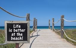 Chalkboard with life is better at the beach. Chalkboard blackboard with life is better at the beach stock image