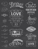 Chalkboard Love Design Elements. A collection of hand drawn type with love design elements in chalkboard style. EPS 10. Transparencies. Two Layers Royalty Free Stock Image