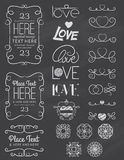 Chalkboard Love Design Elements Two. A collection of hand drawn type with love design elements in chalkboard style. EPS 10. Transparencies. Two Layers Stock Photography