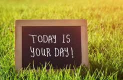 Chalkboard lying in the grass with the text today is your day. Stock Image