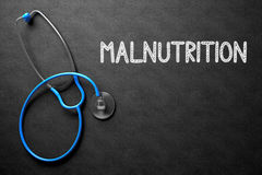 Chalkboard with Malnutrition. 3D Illustration. Royalty Free Stock Photos