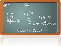 Chalkboard in the math class, illustration Royalty Free Stock Photo
