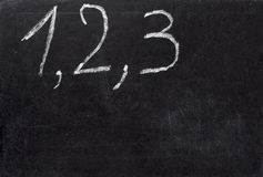 Chalkboard math classroom school. Closeup of chalkboard and numbers Stock Image
