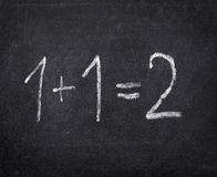 Chalkboard math classroom school education. Closeup of chalkboard and simple math addition Royalty Free Stock Photo
