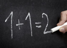 Chalkboard math classroom school education. Closeup of chalkboard and simple math addition Stock Photos
