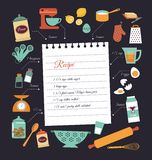 Chalkboard meal recipe template vector design. With food icons and elements Stock Photography
