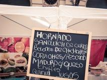Chalkboard menu Buenos aires Royalty Free Stock Photos